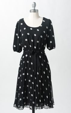 Spotty Dotty Dress- DownEast. Perfect dress for autumn. Modest, comes to the knee, and flows when you walk from the chiffon fabric. Super comfortable and light, and can be worn for any occasion, fancy or casual.