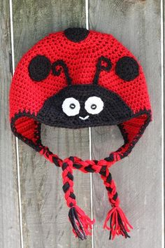 Crochet LADY BUG  Hat   any size by ForeverValues on Etsy, $22.99