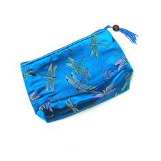 Dragonfly Silk Clutch Turquoise Silk Purse Zip by LesPetitsTrucs