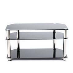 RFIVER Black Tempered Glass TV Stand Suit for LED LCD OLED and Plasma Flat Screen TVs up to 46InchBlack Glass and Chrome tube TS1001 * Details can be found by clicking on the image. (This is an affiliate link and I receive a commission for the sales)