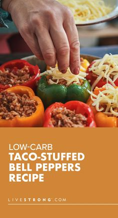 Taco Stuffed Peppers, Low Carb Tacos, Extra Firm Tofu, Healthy Low Carb Recipes, One Pan Meals, Melted Cheese, How To Dry Oregano, Cooking Tips, Cooking Hacks