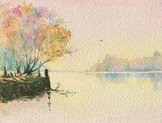 Ave_sobre_un_espejo_-_Autor_Esteban_Friedenthal Painting, Watercolors, Painted Trees, Mirror, Ink, Atelier, Author, Painting Art, Paintings