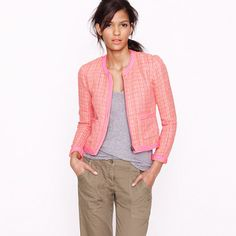 coral, plaid bouclé tweed jacket This would be phenomenal with mint pants rolled above the ankle for Spring. Pink Tweed Jacket, Cotton Jacket, Quilted Jacket, J Crew Jacket, Blazer Jacket, Tweed Blazer, Jacket Dress, Blazer Outfits, Casual Outfits