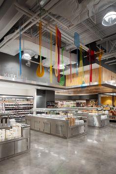 Experiential graphic design for supermarket Organic Supermarket, Supermarket Design, Retail Store Design, Restaurant Hotel, Showroom Interior Design, Warehouse Design, Retail Signage, Store Layout, Store Interiors