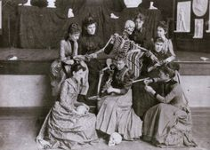 Western Female Seminary (renamed the Western College for Women in 1904), Oxford, Ohio. Once removed from dissection, the students at this daughter school of Mount Holyoke studied hygiene, anatomy, and physiology with the use of a skeleton manikin, and the plaster casts that appear behind the tableau. From the book Dissection: Photographs of a Rite of Passage in American Medicine: 1880-1930 - http://www.cultofweird.com/books/macabre-coffee-table-books/