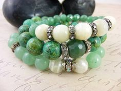 Moonstone, Aventurine and Chrysocolla Bracelets, cleansed and energized by EarthEnergyGemstones, $65.00
