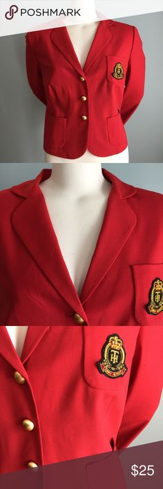 """Tommy Hilfiger Red Blazer In great condition, this lightweight preppy jacket is lined and has cool brass button details in front and on sleeves. Bust measures 41.5"""", length of jacket from shoulder to hem is 21"""", sleeve length 24."""" 95% wool/ 5 % spandex. Dry clean. Tommy Hilfiger Jackets & Coats Blazers"""
