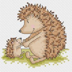 mr. hedgehog 4 cross stitch patterns by DureneJones on Etsy