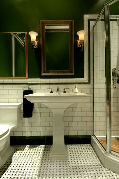 Unique Dark Green Bathroom Tile For Your Home Remodel Ideas with Dark Green Bathroom Tile - Pleasing Interior Design Ideas Metro Tiles Bathroom, Art Deco Bathroom, Bathroom Floor Tiles, Bathroom Renos, Bathroom Interior, Small Bathroom, Shower Bathroom, Bathroom Ideas, Interior Livingroom
