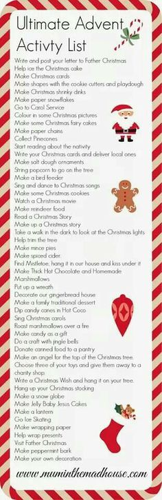 To do list for December