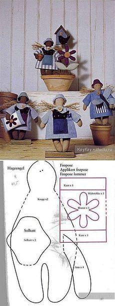 Pukhlikov - un patrón simple con una tilde / Tilda, juguetes de peluche con sus propias manos, el patrón / KluKlu.  Artesanía - Partida, quilling, punto de cruz, de tejer