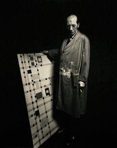 Piet Mondrian in his studio