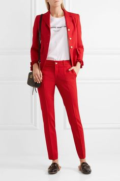 Red stretch wool and silk-blend Concealed button, hook and zip fastening at front 90% wool, 8% silk, 2% elastane; lining: 67% viscose, 33% polyester Dry clean Made in Italy