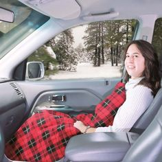 Plug-in electric blanket for the car! Great for road trips. This would be perfect for cold weather.