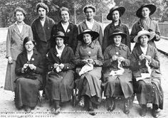 """ A group of ladies from Darley Abbey knitting clothing etc for soldiers during the First World War. """