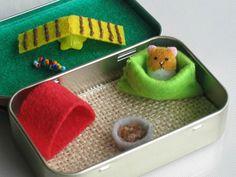 Hamster miniature felt plush in  Altoid tin play set - snuggle bag ramp house play food. $19.00, via Etsy.