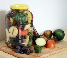 romanian pickles: apples, grapes, water melon, pear, cauliflower, cucumber...