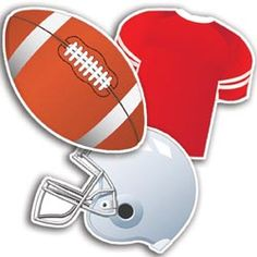"""Decorate your classroom, write the week's spelling words, or create student awards with these football themed cut-outs. Package of 36 pieces, 12 each of 3 designs: football, helmet and football jersey. 5"""" tall. UA"""