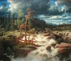 Marcus Larson (1825-1864): Waterfall in Småland, 1856