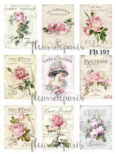 Shabby Chic Vintage French Pink Roses 9 Small Prints on Fabric Quilting FB 158 Shabby Chic Paper, Vintage Shabby Chic, Shabby Chic Decor, Vintage Country, French Vintage, Vintage Roses, Shabby Chic Quilts, Shabby Chic Pillows, Shabby Chic Bedrooms