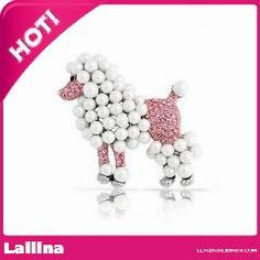 [ $37 OFF ] Rose Candy Poodle Dog Simulated Pink Topaz Crystal Simulated Pearl Brooch Pin