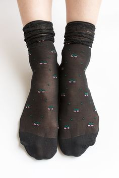 Women NEW Hezwagarcia Cute Cherry Pattern Frill Stocking Black Sheer Lace Layered Socks Hosiery