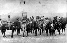 """General Calixto Contreras (first on left side), chief of the Brigada Juarez, part of the """"Division del Norte"""" army."""