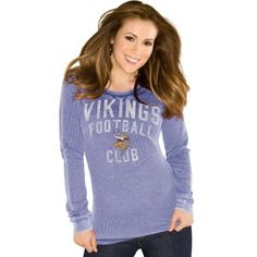 Minnesota Vikings Alyssa Milano Ladies Burnout Thermal Shirt