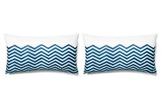 S/2 Waves 12x22 Lumbar Pillows, Navy on OneKingsLane.com