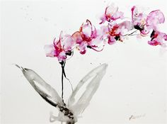 """ORCHIDS 2, beautifully framed, ready to hang!  Original art for sale at UGallery.com   Orchids 2 by Karin Johannesson   $700   watercolor painting   24"""" h x 29.5"""" w   http://www.ugallery.com/ProductDetail.aspx?ProductID=27210"""