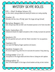 Think of starting Mystery Skypes? Here's a quick list of roles / responsibilities for students to help you start your planning! Enjoy!
