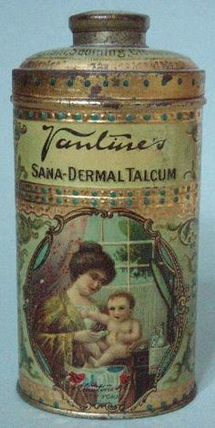 icollect247.com Online Vintage Antiques and Collectables - ULTRA RARE VANTINES SANA DERMAL TALCUM ADVERTISING TIN MINT