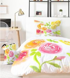 Bed in a Bag - Candy colored Blooms Bed In A Bag, Room Essentials, Dorm Bedding, College Dorm Rooms, Lamp Shades, Candy Colors, Pillow Shams, Framed Wall Art, Duvet Covers