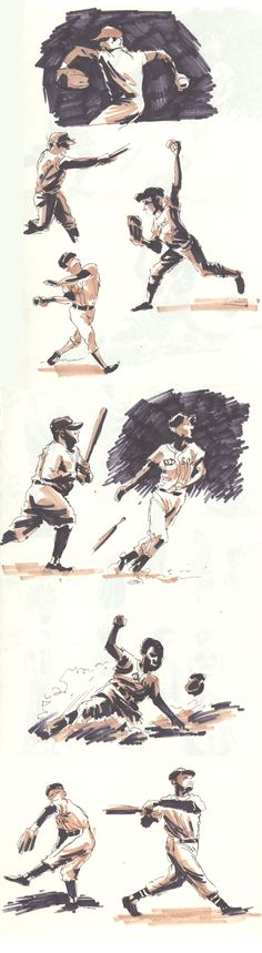 Composite of all the baseball sketches I've done over the last few days.
