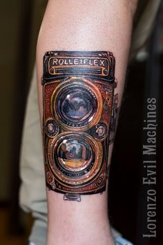 Rolleiflex coverup Realistic Tattoo by Lorenzo Evil Machines, Roma - Italia