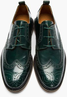 Ami Green Glazed Leather Wingtip Brogues in Green for Men
