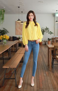 Korean Women`s Fashion Shopping Mall, Styleonme. Stylish Work Outfits, Office Outfits, Classy Outfits, Girl Outfits, Cute Outfits, Fashion Outfits, Womens Fashion, Look Office, Korean Girl Fashion