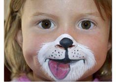 Kinderschminken, Fastnacht, Karneval. Hund, Katze, Bär Halloween, carnival, makeup, dog, cat, bear