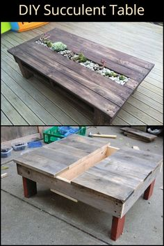 Woodworking Projects Recycle old pallets and turn them into a table with a beautiful succulent centerpiece. Homemade Furniture, Diy Pallet Furniture, Diy Pallet Projects, Wood Projects, Pallet Ideas, Recycled Pallets, Wooden Pallets, Old Pallets, Wooden Diy