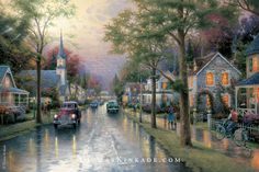"""Our newest release from the Thomas Kinkade Vault, """"Morning Pledge"""", was based on Thom's childhood in Placerville, California. Throughout his career he conceived many beautiful paintings based on these memories, including today's featured piece - """"Hometown Morning"""". If you look carefully, you will see a young Thomas Kinkade riding his bike on his paper route. His hero, Norman Rockwell, is driving the maroon car on the left. One license plate shows his wife Nanette's initials and her birthday."""