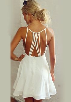 White Strappy Back Chiffon Summer Dress