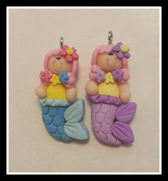 Pink Hair Mermaid  Polymer Clay Charm Bead Scrapbooking Bow Center