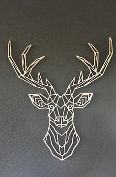 Wooden geometric animals for wall deer Geometric Deer, Geometric Drawing, Geometric Shapes, Metal Wall Decor, Metal Wall Art, 3d Zeichenstift, 3d Pen, Pattern Art, Art Prints