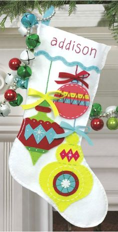 My favorite source for arts and crafts: Bright Ornaments Stocking Felt Applique Kit Felt Stocking Kit, Felt Christmas Stockings, Christmas Stocking Pattern, Christmas Sewing, Noel Christmas, Christmas Ornaments, Stocking Ideas, Diy Stockings, Christmas Decor