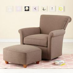 Nursery Gliders: Brown Swivel Glider Chair and Ottoman in Upholstered Seating $749.00