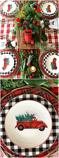A round-up of Christmas and winter-themed table and centerpiece inspiration to bring joy and cheer to your holiday table. You'll find cheery checks and merry plaids and tartans, whimsical reindeer… #christmastable Christmas Lodge, Tartan Christmas, Christmas Truck, Christmas Dishes, Elegant Christmas, Country Christmas, Christmas Ideas, Buffalo Plaid Christmas Ornaments, Merry Christmas