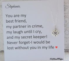 Best friend necklace, Compass necklace, Sisters necklace, Friendship necklace, Friendship Jewelry, BFF, Graduation Gift for Her Going Away Gift Miss you Gift for Best friend Perfect way to tell best friend how much she means to you Compass Jewelry for Best Friends Tiny Compass Necklace for best friend