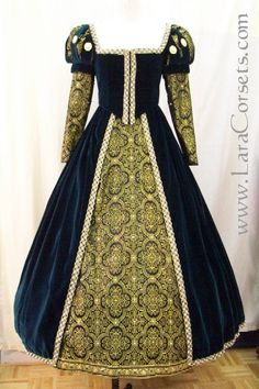 16th century wedding gown. Green was the preferred color for 15th-16th century wedding gowns because it was thought to be a symbol of fertility