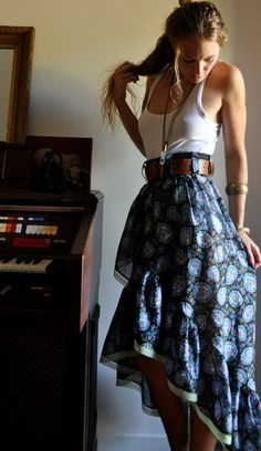tank top and belted handkerchief skirt