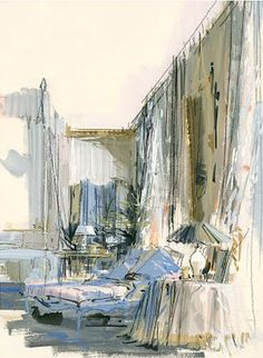 Jeremiah Goodman's watercolor of Babe Paley's bedroom